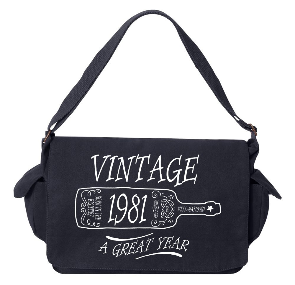 Tenacitee Aged Like a Fine Wine 1981 Navy Brushed Canvas Messenger Bag by Tenacitee (Image #1)