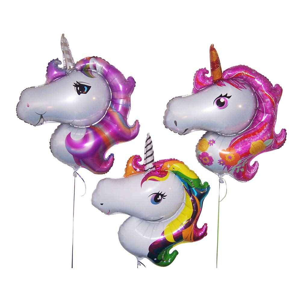 Unicorn party supplies for girls-Birthday party decorations-Set of 3 large foil balloons-Hoopoe brand