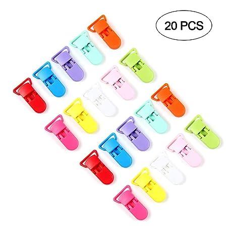 AOLVO Clips de Chupete de plástico, 20 Unidades, 10 Colores ...
