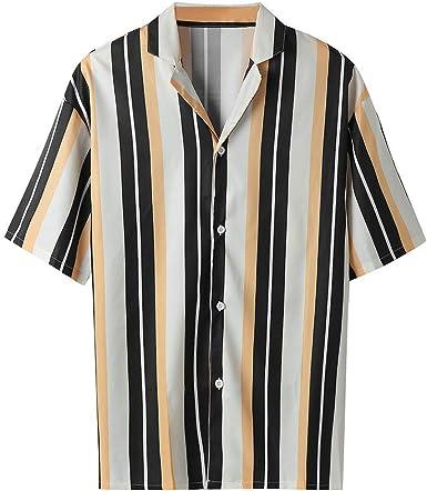 Hombre Camisa Manga Larga Slim Fit Blusa Superior Rayas ...