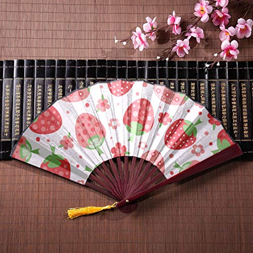 JXCSGBD Hand Fold Up Fan Strawberries Perfect for Wallpapers with Bamboo Frame Tassel Pendant and Cloth Bag Chinese Hand Fan Large Chinese Fan Folding Large Fan