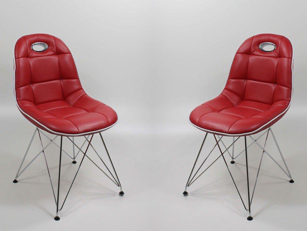 Stuhlgruppe Anabel Trapezgittergestell verchromt Kunstleder rot Designerstuhl Schalenstuhl Stuhl, Set-Inhalt:8er-Set - 8 Stück
