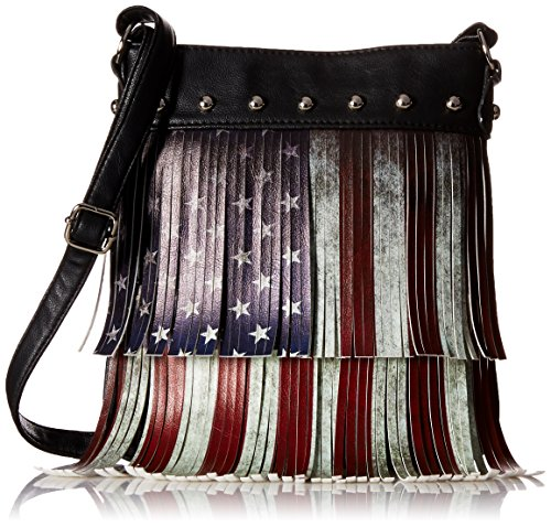 Fringe Body (Distressed Vintage Layered Fringe American Flag Crossbody Purse Bag)