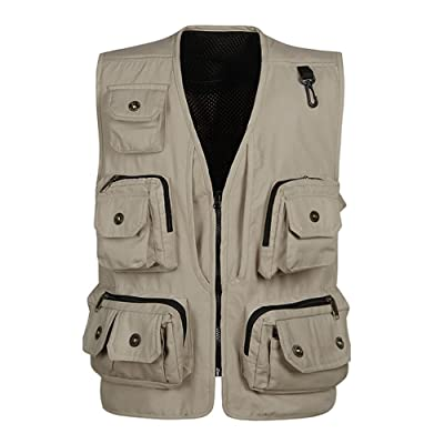 Mens Pockets Jacket Outdoors Travels Sports Vest Tops