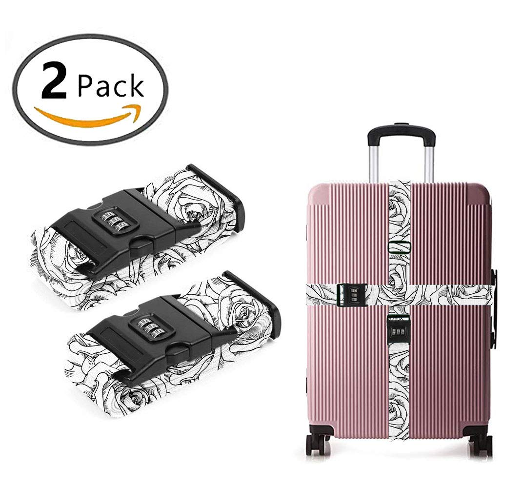 YEAHSPACE Men Women Black White Rose 3D Long Travel Luggage Strap Heavy Duty Quick Connect Buckle, Suitcase Belts with TSA Approved Lock 2-Pack