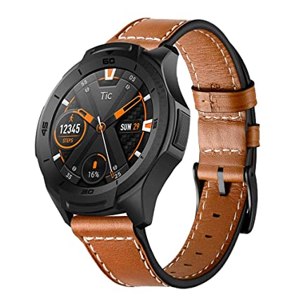 Aimtel Compatible TicWatch S2 Bands, 22mm Genuine Leather Strap Replacement Band Compatible TicWatch S2/ LG 22/46mm Watch/Samsung Gear S3 Frontier/ S3 ...