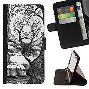Momo Phone Case / Flip Funda de Cuero Case Cover - Art Dessin Forêt Blanche - Samsung Galaxy S6 Active G890A