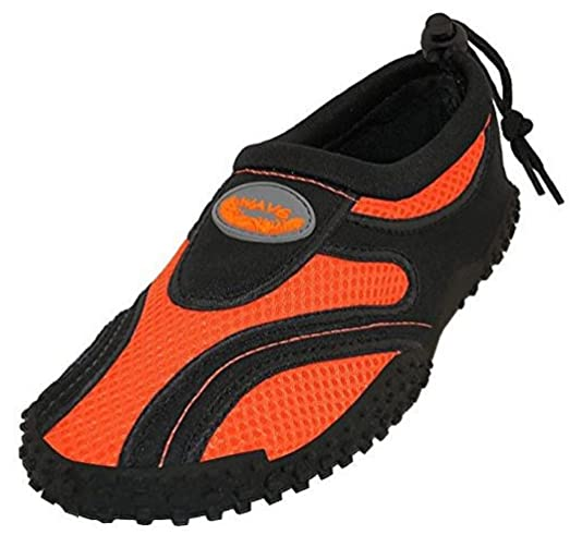Women's Water Shoes Pool Beach Aqua Socks Yoga Exercise (7 1185L Black/Orange)