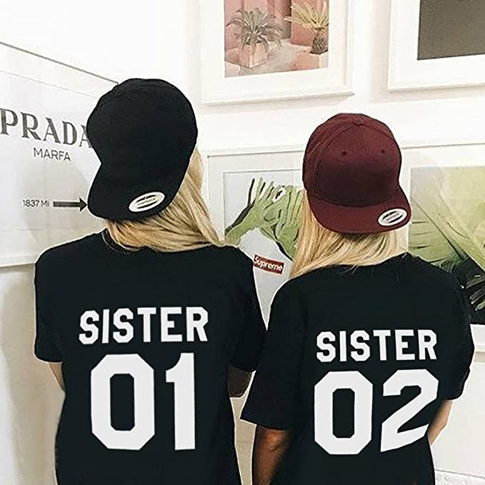 Amazon.com: Sister 01 t Shirts Women Best Friend Teen Girl Print Cotton 2-Pack Cute Graphic Tops: Clothing