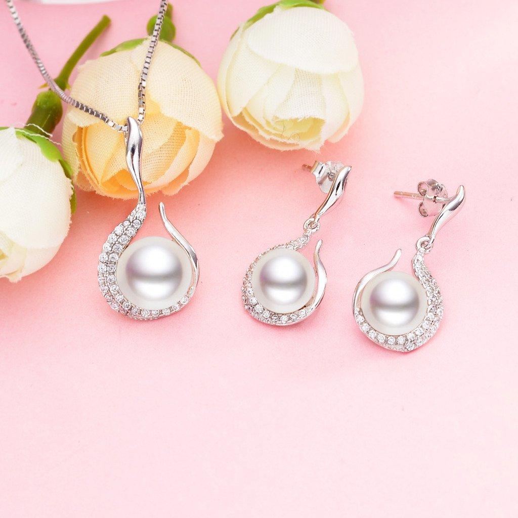 EVER FAITH/® Parure bourgeon de fleur Collier et boucles doreilles Argent sterling Oxyde de zirconium Perles deau douce de culture AAA