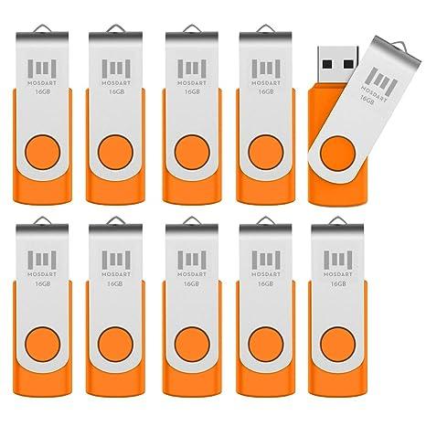 MOSDART 16GB 10 Pack Bulk USB 2 0 Flash Drives Swive Design Thumb Drives  with Led Indicator,Orange 10pcs