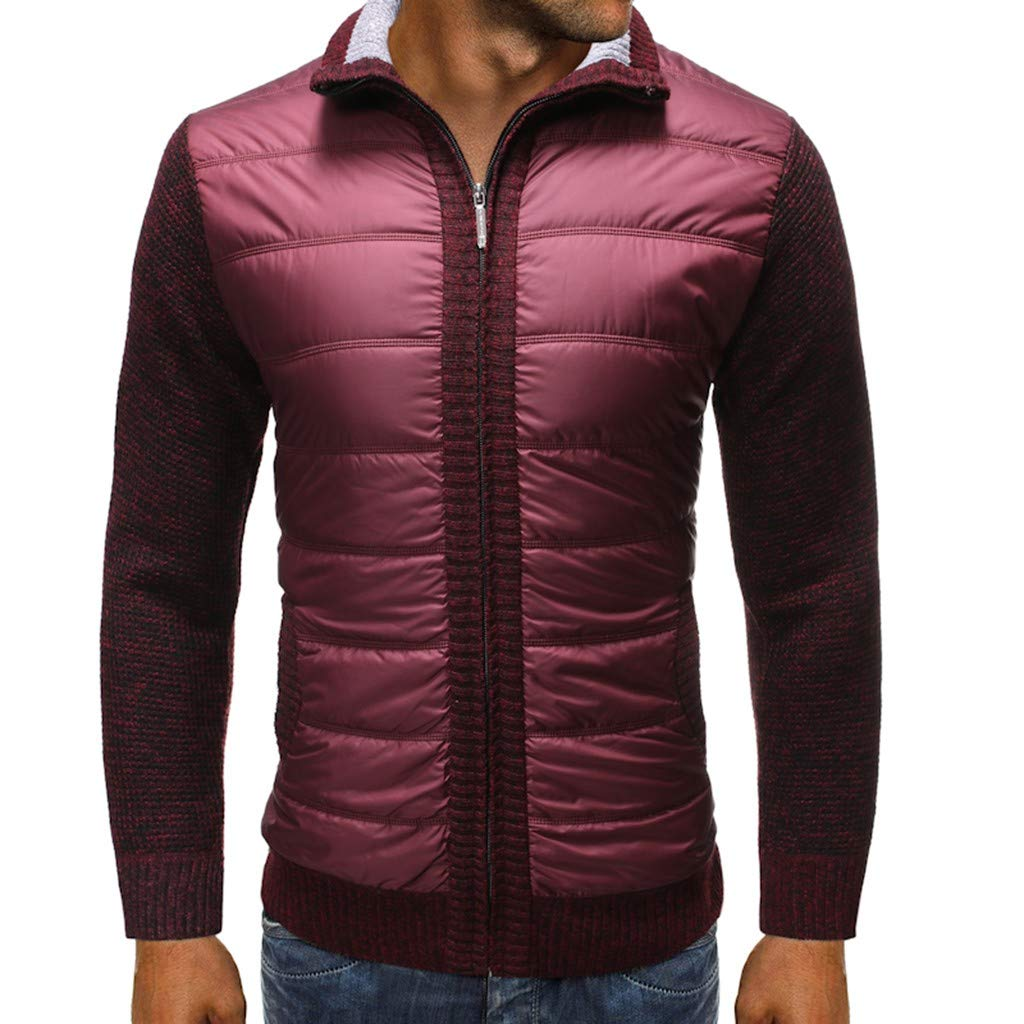 GREFER Outwear Mens Winter Warm Jackets - Casual Patchwork Full Zipper Sweater Jacket - Plus Size Coats with Pockets Wine