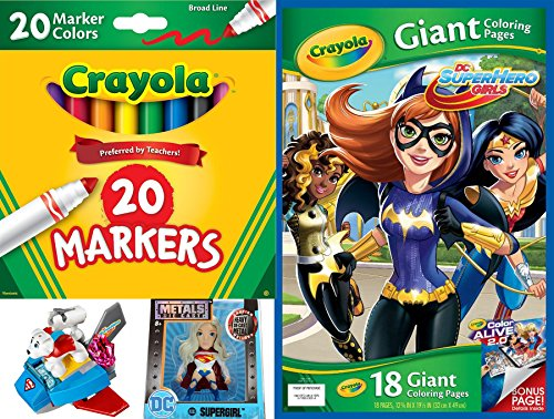 DC Super Hero Girls Play-Set Crayola Giant Sized Pages Mega poster coloring sheets 20 Pack Big Magic Markers + Supergirl Metal Figure & Krypto Dog Action Play Fun Set