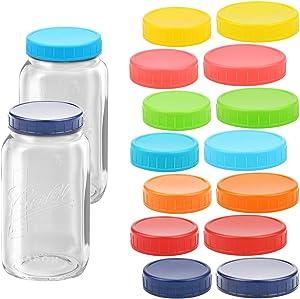 Fansunta 16 Pcs Colored Plastic Mason Jar Lids, 8 Regular Mouth(70mm) & 8 Wide Mouth(86mm), Food Grade Recyclable Plastic Storage Mason Jar Caps
