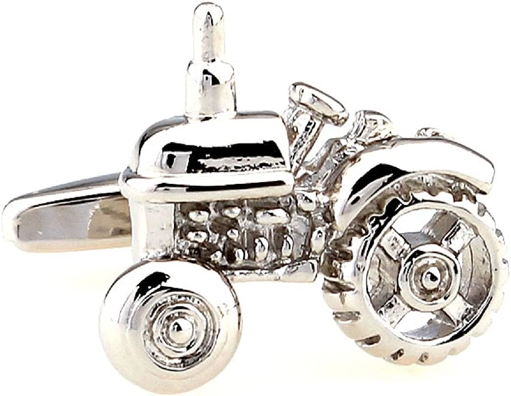 MRCUFF Tractor Pair Cufflinks in a Presentation Gift Box & Polishing Cloth
