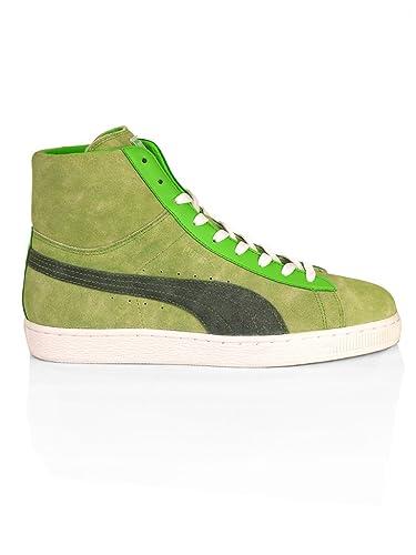 Puma Suede Mid Washed BRTS Sneaker Fluo Green   Bl  Amazon.de ... 5fb34866c164