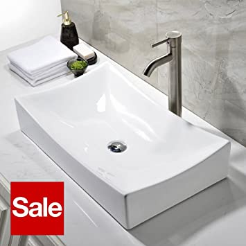 ufaucet modern above counter white ceramic bathroom vessel sink without popup drain