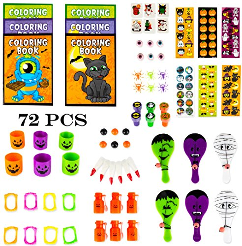 Halloween Treat Bags For Students (Neliblu Halloween Toys Party Favors Mega Assorted Halloween Trick or Treat Bag Fillers, Halloween Toys and Novelties, Goody Bag Fillers, Pinata Fillers 72 Halloween Toy Assortment)