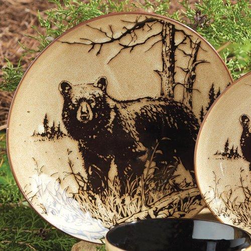 Bear Dinner Plate (Bear Woodlands Rustic Dinner Plate - Wilderness Dining Tableware)