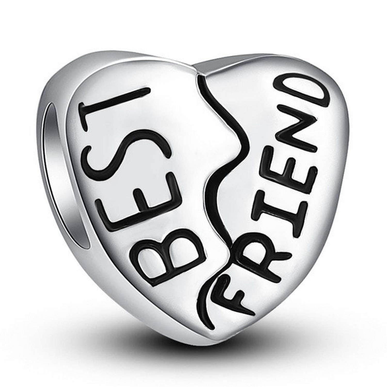 EverReena Beads Love Valentine HeartBest Friend Charm for Silver Bracelets