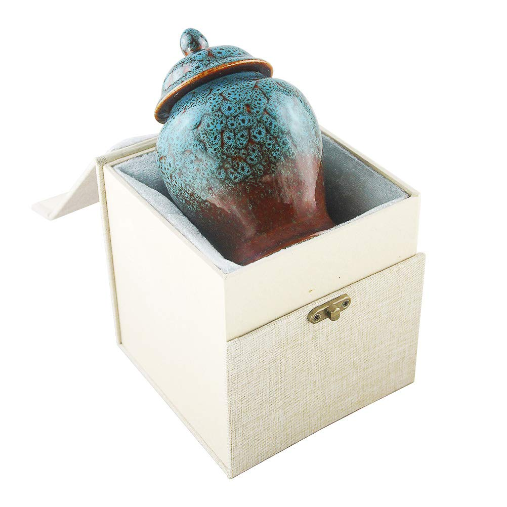M MEILINXU Funeral Keepsake Urn for Ashes - Ceramics Mini Cremation Urn for Human Ashes - Hand-Painted -Fits a Small Amount of Cremated Remains- Display Burial Urn at Home or Office (Sapphire Blue