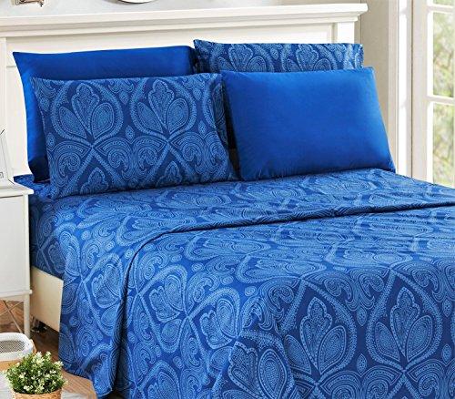 6 Piece: Paisley Printed Bed Sheet Set 1800 Count Egyptian Quality HOTEL LUXURY Flat Sheet,Fitted Sheet with 4 Pillow Cases,Deep Pockets, Soft Extremely Durable by Lux Decor (Queen, NAVY BLUE) - Make Bed Sheets