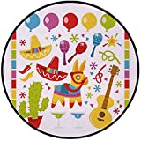 Printing Round Rug,Fiesta,Mexican Party Pattern Cactus Sombrero Musical Items and a Pinata Ethnic Inspirations Mat Non-Slip Soft Entrance Mat Door Floor Rug Area Rug For Chair Living Room,Multicolor