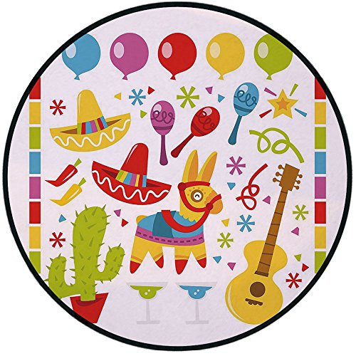 Printing Round Rug,Fiesta,Mexican Party Pattern Cactus Sombrero Musical Items and a Pinata Ethnic Inspirations Mat Non-Slip Soft Entrance Mat Door Floor Rug Area Rug For Chair Living Room,Multicolor by iPrint