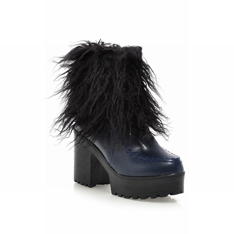 Carol Shoes Women's Fashion Zipper Faux Fur Platform High Heel Snow Boots