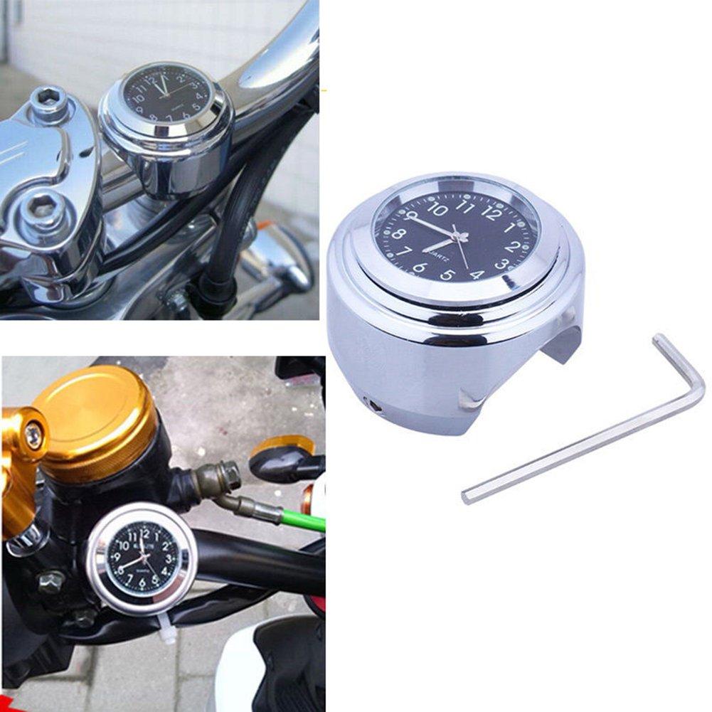 Universal Motorraduhr Motorrad Lenker Uhr wasserdicht schwarz weiss Aluminium 7/8 ' (22 /25mm) Ziffernblatt Fahrrad Roller weiss Molie