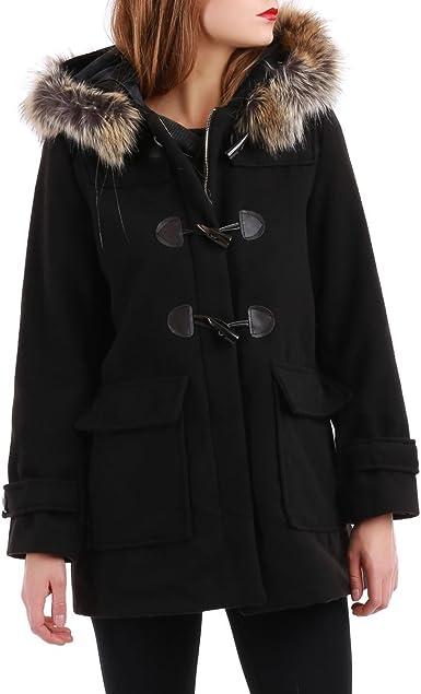 acheter duffle coat capuche fausse fourrure