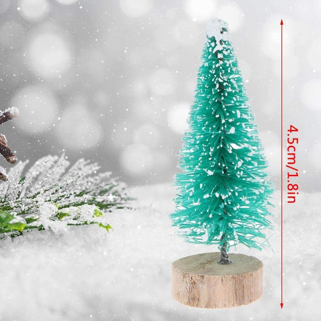 Peerless 10pcs Mini Sisal Trees With Wood Base Artificial Christmas Pine Trees Ornaments For Winter Snow