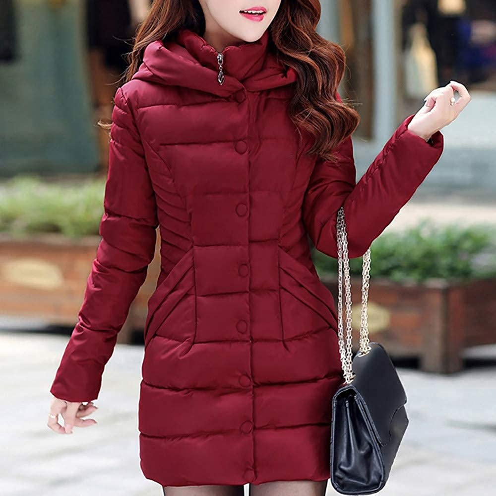 Limsea Quilted Jacket for Women Puffer Winter Jacket Slim Warm Padding Lightweight with Hood and Zipper Pockets