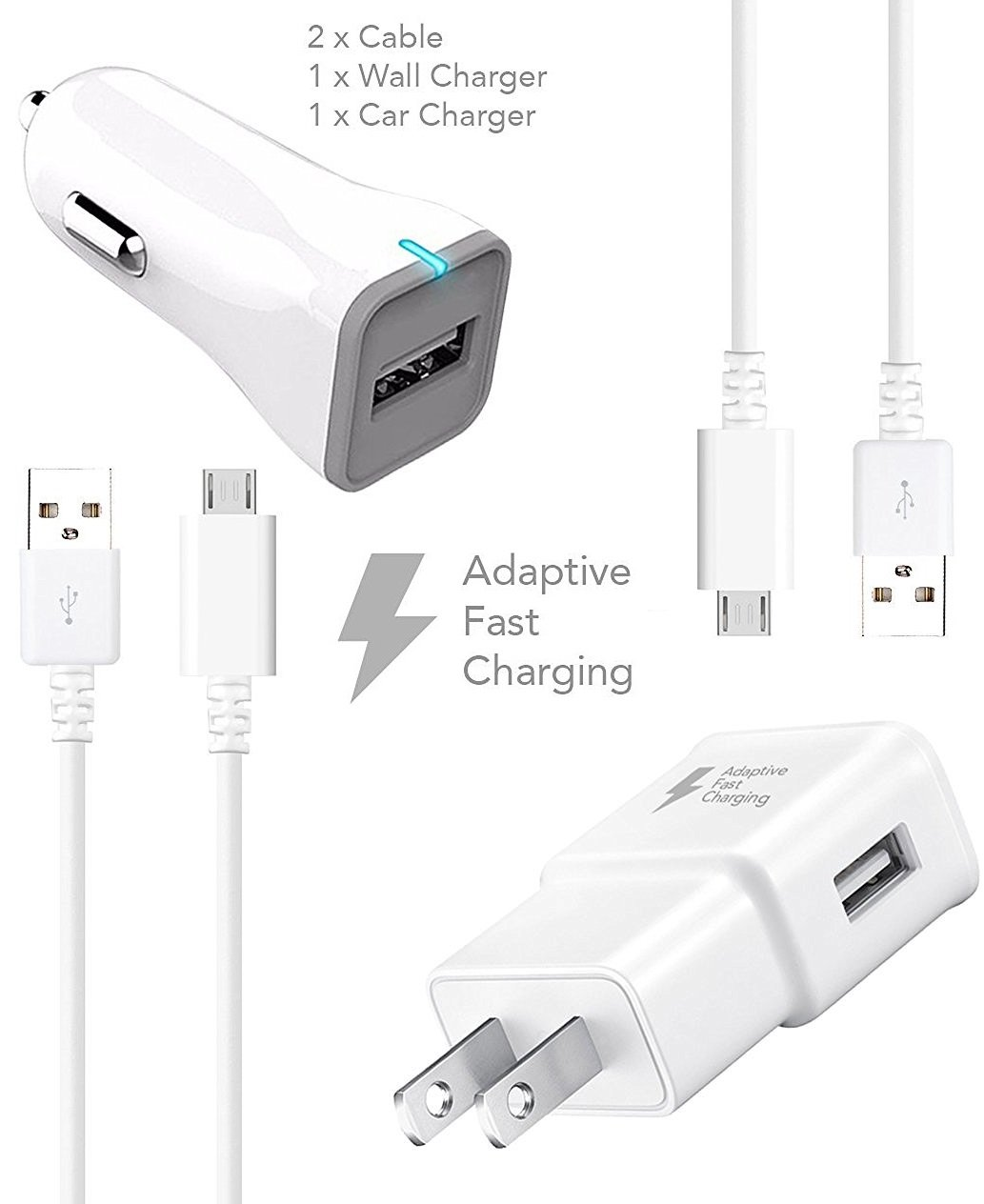 Samsung Galaxy S7 S7 Edge Adaptive Fast Charger Micro USB 2.0 Cable Kit by Ixir - {Wall Charger + Car Charger + 2 Cable} True Digital Adaptive Fast Charging by Ixir