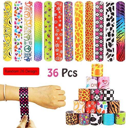 36 Pcs Slap Bracelets Party Favors PackDiverse Pattern Emoji Animals Heart Print Design Retro Slap Wrist Bands for Kids Teens Adults Christmas Toys Prize Halloween Christmas Gift