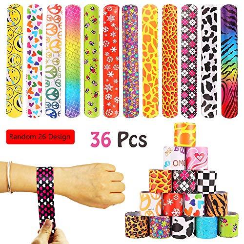 80s Slap Bracelets (VCOSTORE 36 Pcs Slap Bracelets Party Favors Pack with Diverse Pattern, Emoji, Animals, Heart Print Design, Retro Slap Wrist Bands for Kids Teens Adults Christmas Toys Prize)