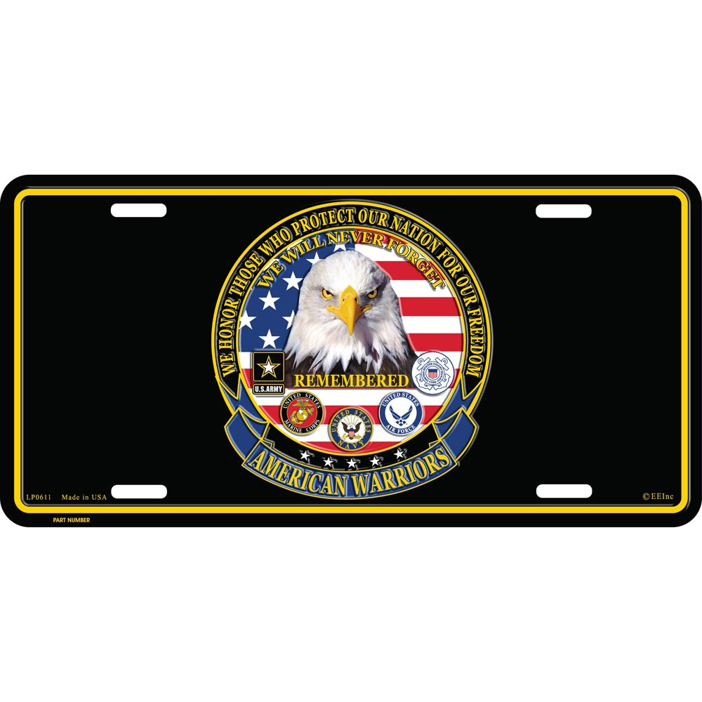 American Warriors License Plate Patriotic and Military Gifts
