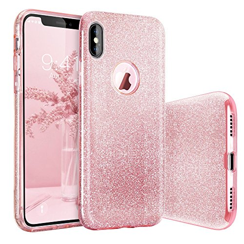 iPhone X Case, BASSTOP Luxury Bling Crystal Glitter Sparkle Phone Case Detachable 3 Layers Shockproof Hard PC Back Soft TPU...  iphone x cases 3 layers 616OtlH8w3L