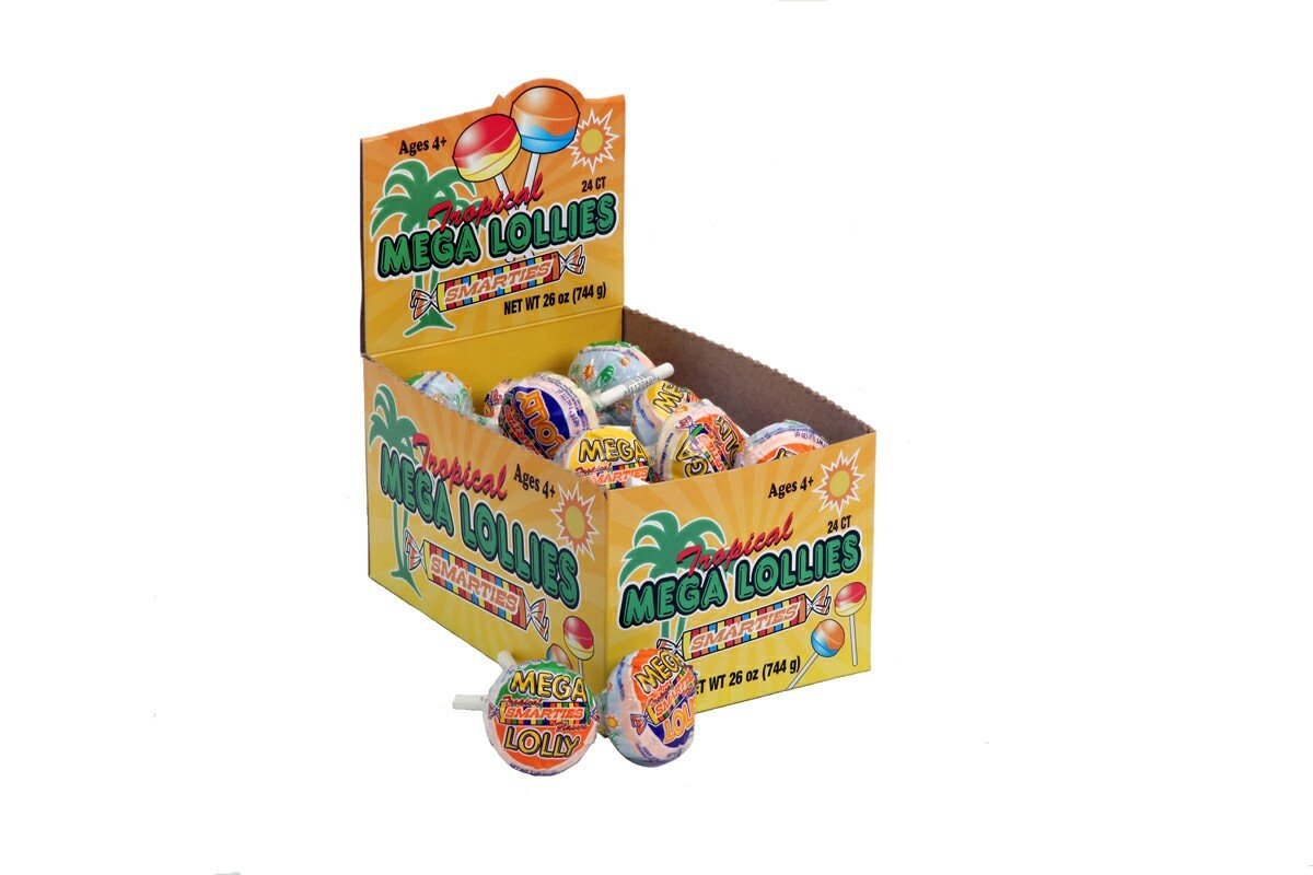 Smarties Lollies, Mega Tropical, 60 Count