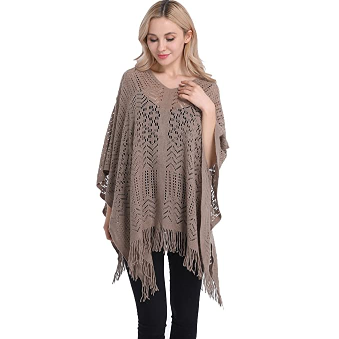 1439ea7dd25e Sexybody Women s knitted Light Weight Poncho With Tassel Crochet Batwing  Shawl Cloak Cape Pullover at Amazon Women s Clothing store