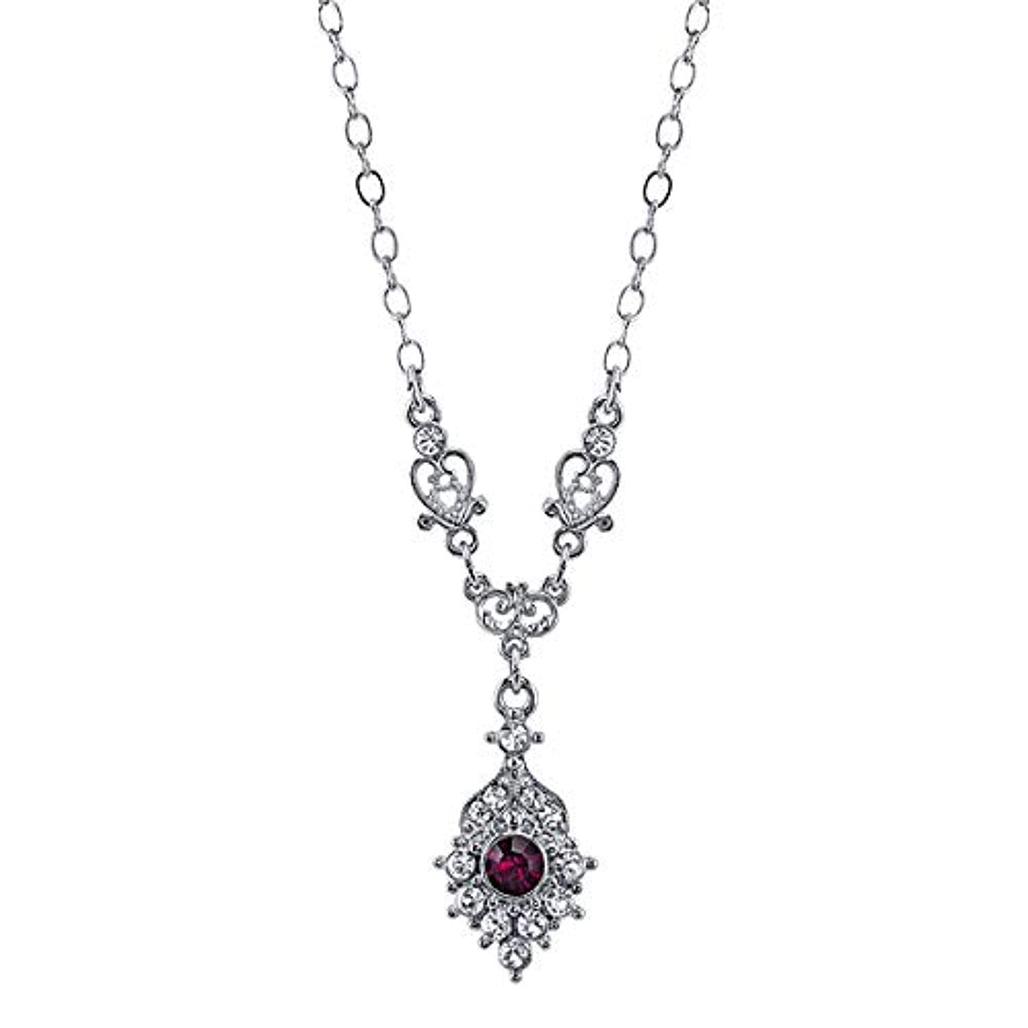 Silver-Tone Clear and Amethyst Color Crystal Necklace 16 Adj.