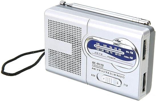Mini Radio portátil Am/FM Antena de Radio Telescópica Antena ...