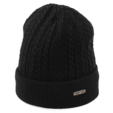 d054d00f8b1 Siggi Slouch Beanie Hat Thick Wool Knitted With Fleece Lined Winter Skull  Cap Snowboarding Hat For Men Women Black 55-60CM  Amazon.co.uk  Clothing