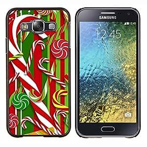LECELL--Funda protectora / Cubierta / Piel For Samsung Galaxy E5 E500 -- Bastón Blanco rojo de Navidad Navidad --