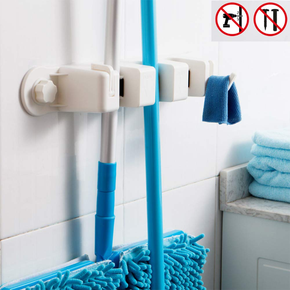 Cavoli Strong Sucker Mop Holder Wall Mounted Mop and Broom Hanger - Kitchen&Garden&Garage Suction Cup Organizer with 3 Positions 2 Hooks,White