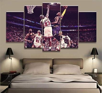 Kobe Bryant Michael Jordan Lebron James Poster di Tela di Canapa di Arte della Pallacanestro Stampa la Decorazione della Parete di casa