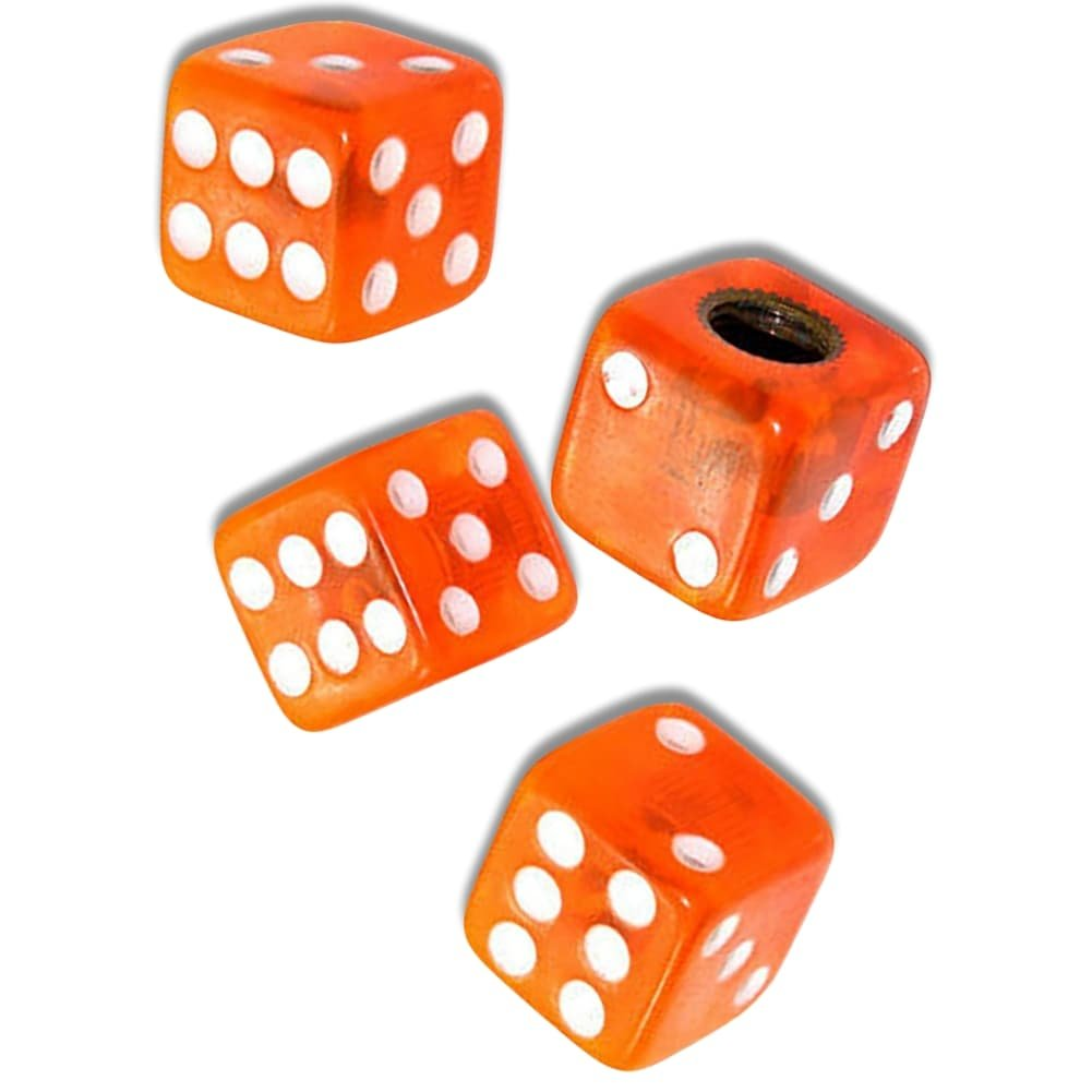 "(4 Count) ""Square Playing Dice Easy Grip Design"" Valve Stem Dust Cap Seal Made of Hardened Rubber {Bright Ford Orange Color - Hard Metal Internal Threads for Easy Application - Rust Proof} by mySimple Products (Image #1)"