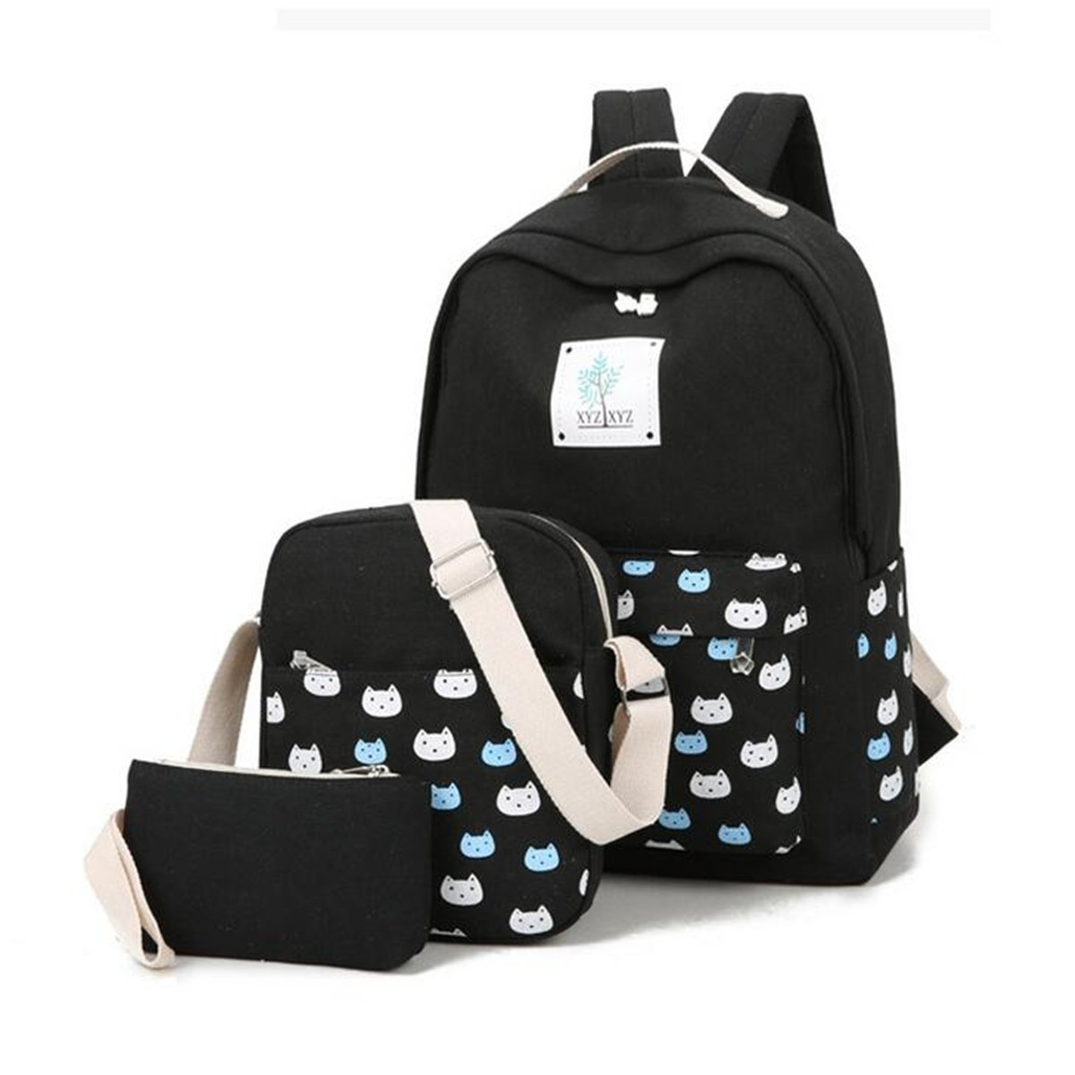 Canvas Schulrucksack, Gracosy Retro Rucksack Damen 3 Set Vintage Daypacks Casual Freizeitrucksack 15,6 Zoll Laptop Backpacks für Reisen Schüler College Dunkelblau GRACOSYzmoaKAW1288