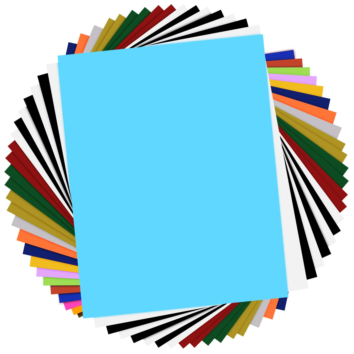 HTV Heat Transfer Vinyl Bundle - 25 Pack 12''x10'' Assorted Colors Sheets for DIY T-Shirts Clothing- Iron On Vinyl for Silhouette Cameo,Cricut or Heat Press Machine Tool-Teflon Sheet Included by HTVRONT