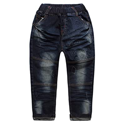eTree Boys' Jeans Stereo Letters Vintage Denim Pants